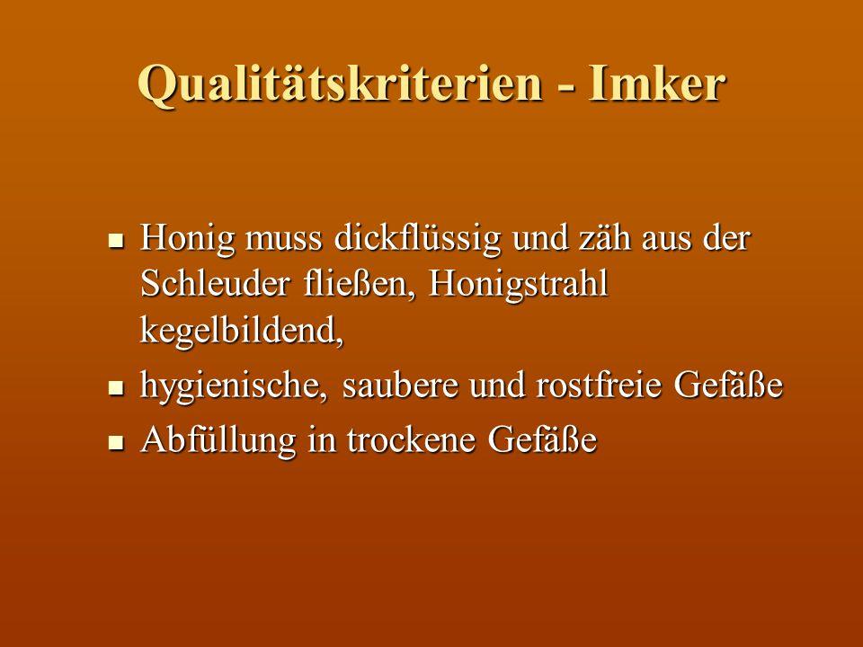 Qualitätskriterien - Labor HMF Wert: (HMF = Hydroxylmethvlfurfural) HMF Wert: (HMF = Hydroxylmethvlfurfural) Hitzeschädigung (ppm = mg/kg) Hitzeschädigung (ppm = mg/kg) Laut Lebensmittelgesetz max.