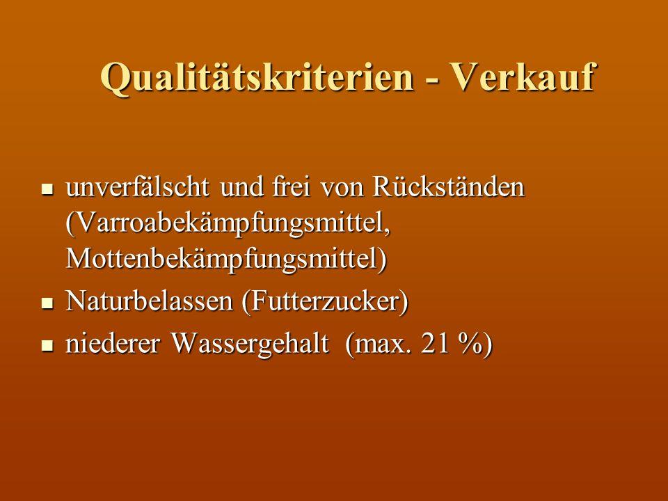 Qualitätskriterien - Verkauf unverfälscht und frei von Rückständen (Varroabekämpfungsmittel, Mottenbekämpfungsmittel) unverfälscht und frei von Rückst