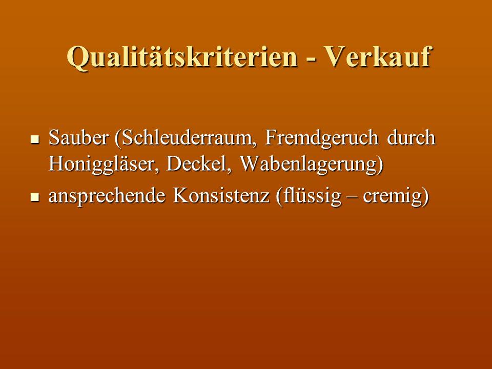 Qualitätskriterien - Verkauf Sauber (Schleuderraum, Fremdgeruch durch Honiggläser, Deckel, Wabenlagerung) Sauber (Schleuderraum, Fremdgeruch durch Hon