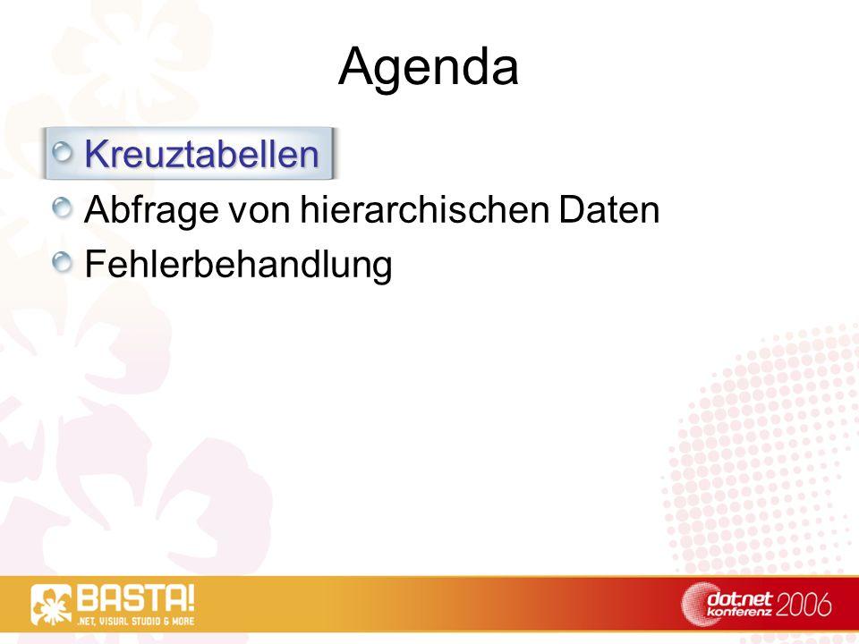Agenda Kreuztabellen Abfrage von hierarchischen Daten Fehlerbehandlung