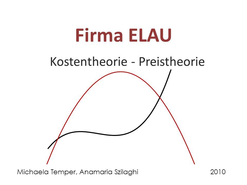 Firma ELAU Kostentheorie - Preistheorie Michaela Temper, Anamaria Szilaghi2010