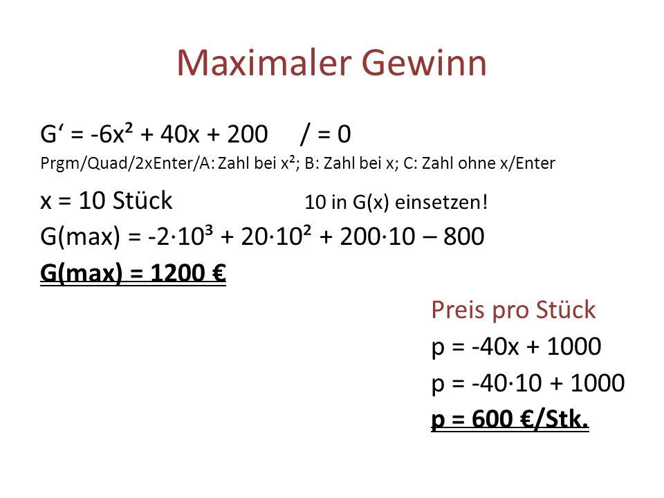Maximaler Gewinn G = -6x² + 40x + 200 / = 0 Prgm/Quad/2xEnter/A: Zahl bei x²; B: Zahl bei x; C: Zahl ohne x/Enter x = 10 Stück 10 in G(x) einsetzen! G