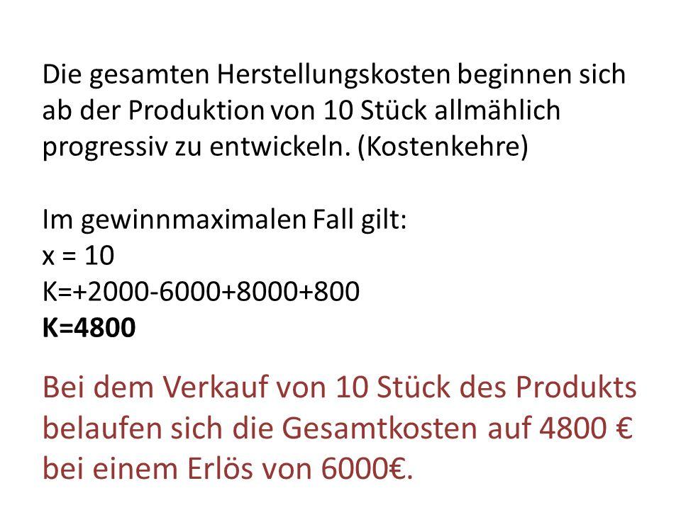 Die gesamten Herstellungskosten beginnen sich ab der Produktion von 10 Stück allmählich progressiv zu entwickeln. (Kostenkehre) Im gewinnmaximalen Fal