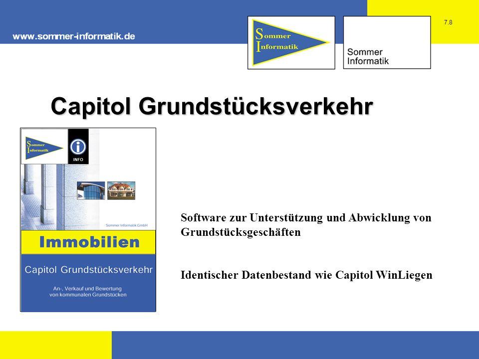 Software zur Unterstützung und Abwicklung von Grundstücksgeschäften Identischer Datenbestand wie Capitol WinLiegen Capitol Grundstücksverkehr 7.8