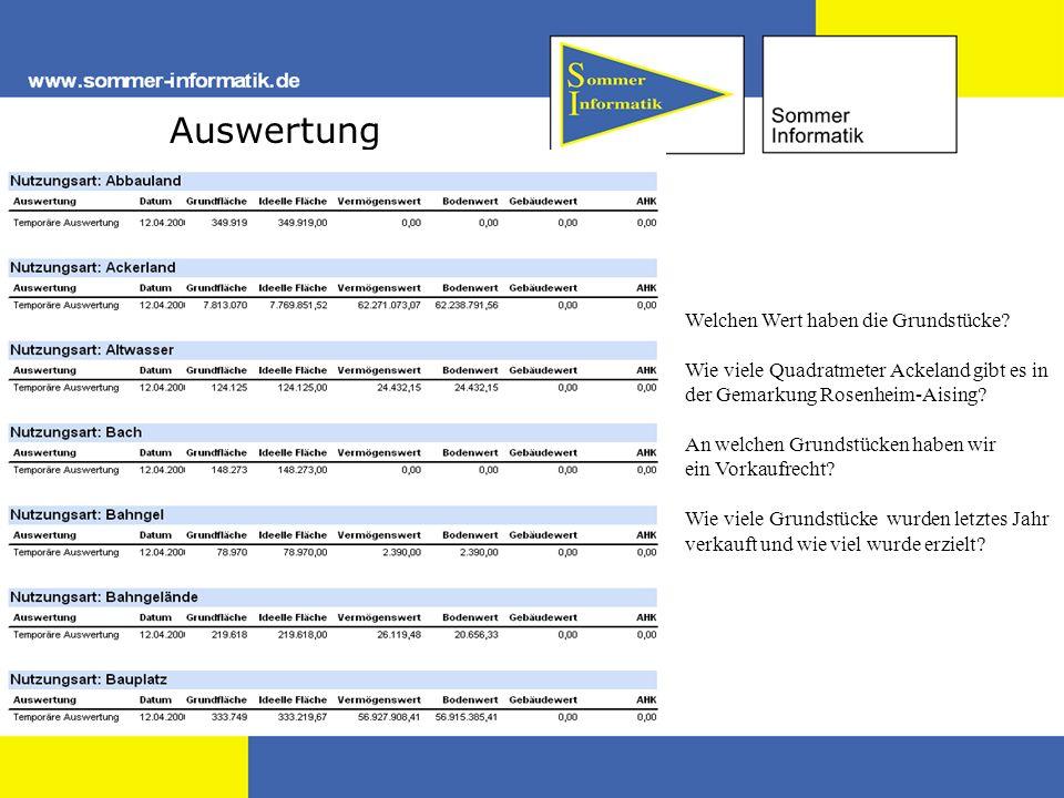 Auswertung Welchen Wert haben die Grundstücke? Wie viele Quadratmeter Ackeland gibt es in der Gemarkung Rosenheim-Aising? An welchen Grundstücken habe