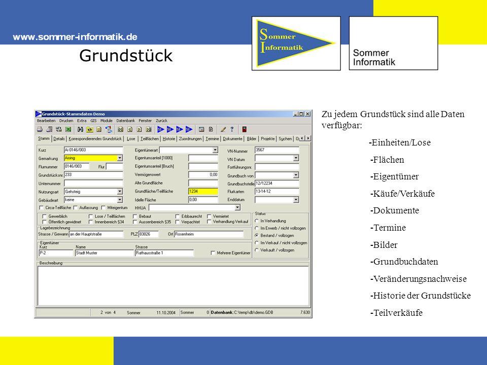 Grundstück Zu jedem Grundstück sind alle Daten verfügbar: -Einheiten/Lose -Flächen -Eigentümer -Käufe/Verkäufe -Dokumente -Termine -Bilder -Grundbuchd