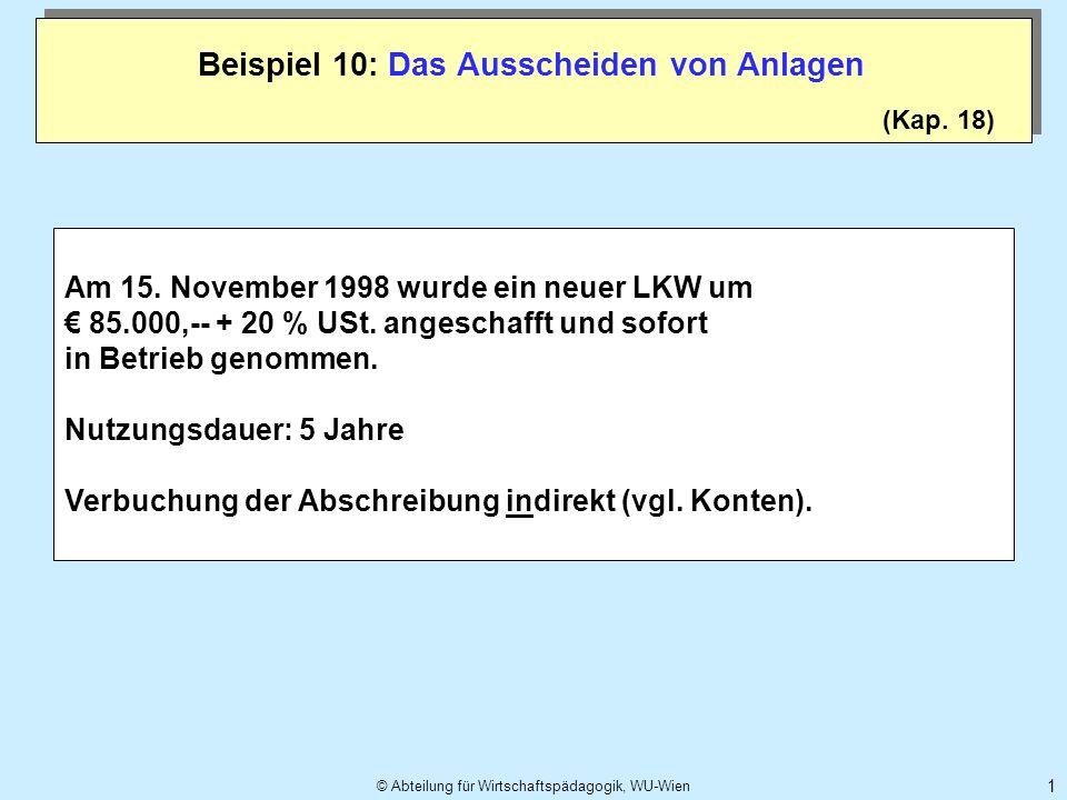 © Abteilung für Wirtschaftspädagogik, WU-Wien 1 (Kap. 18) Am 15. November 1998 wurde ein neuer LKW um 85.000,-- + 20 % USt. angeschafft und sofort in