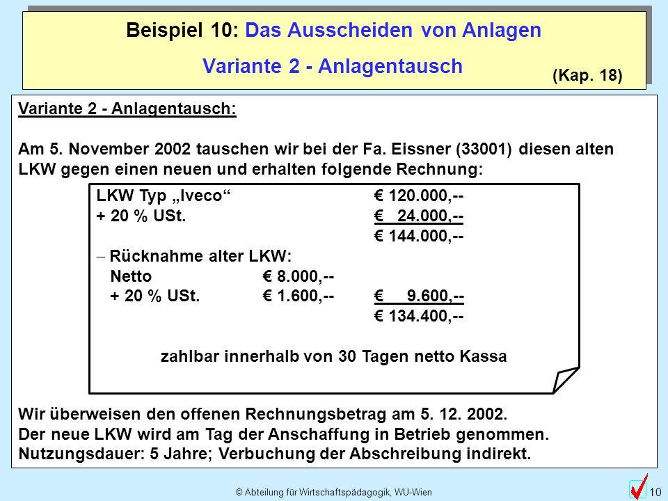 © Abteilung für Wirtschaftspädagogik, WU-Wien 10 Beispiel 10: Das Ausscheiden von Anlagen (Kap. 18) Variante 2 - Anlagentausch Variante 2 - Anlagentau
