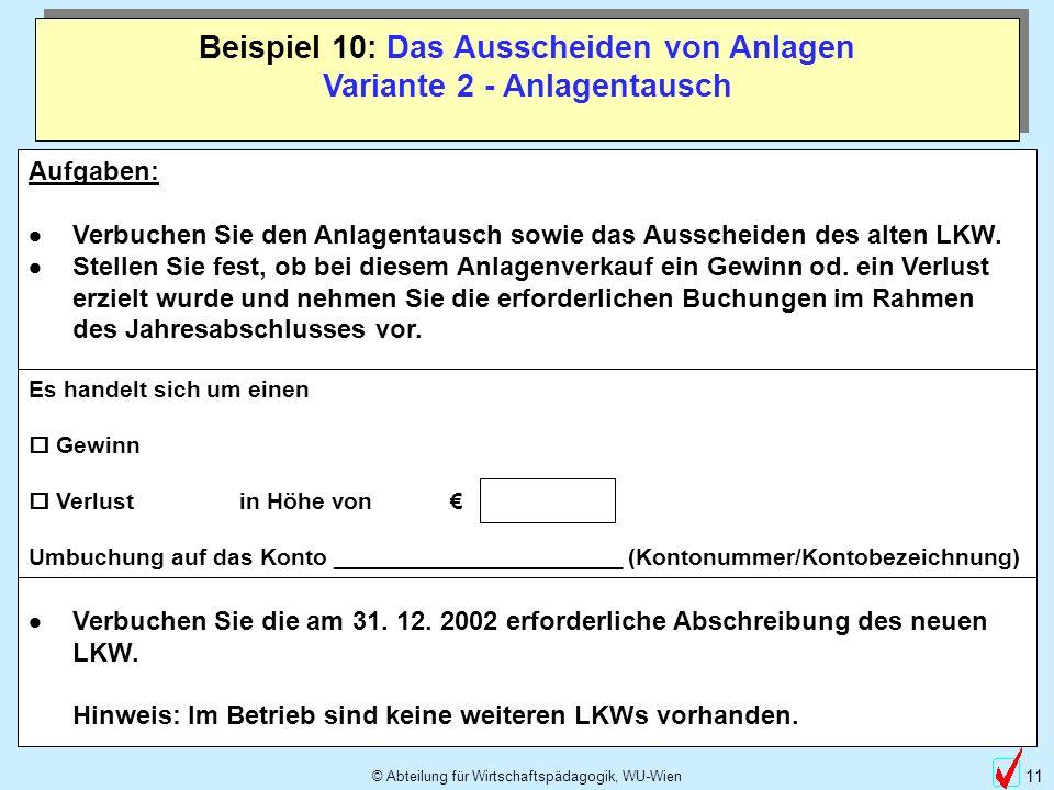 © Abteilung für Wirtschaftspädagogik, WU-Wien 11 Beispiel 10: Das Ausscheiden von Anlagen Variante 2 - Anlagentausch Aufgaben: Verbuchen Sie den Anlagentausch sowie das Ausscheiden des alten LKW.