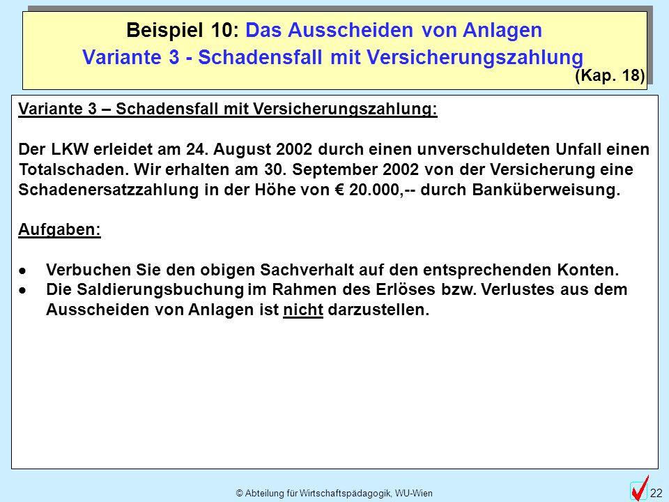 © Abteilung für Wirtschaftspädagogik, WU-Wien 22 Beispiel 10: Das Ausscheiden von Anlagen (Kap. 18) Variante 3 - Schadensfall mit Versicherungszahlung