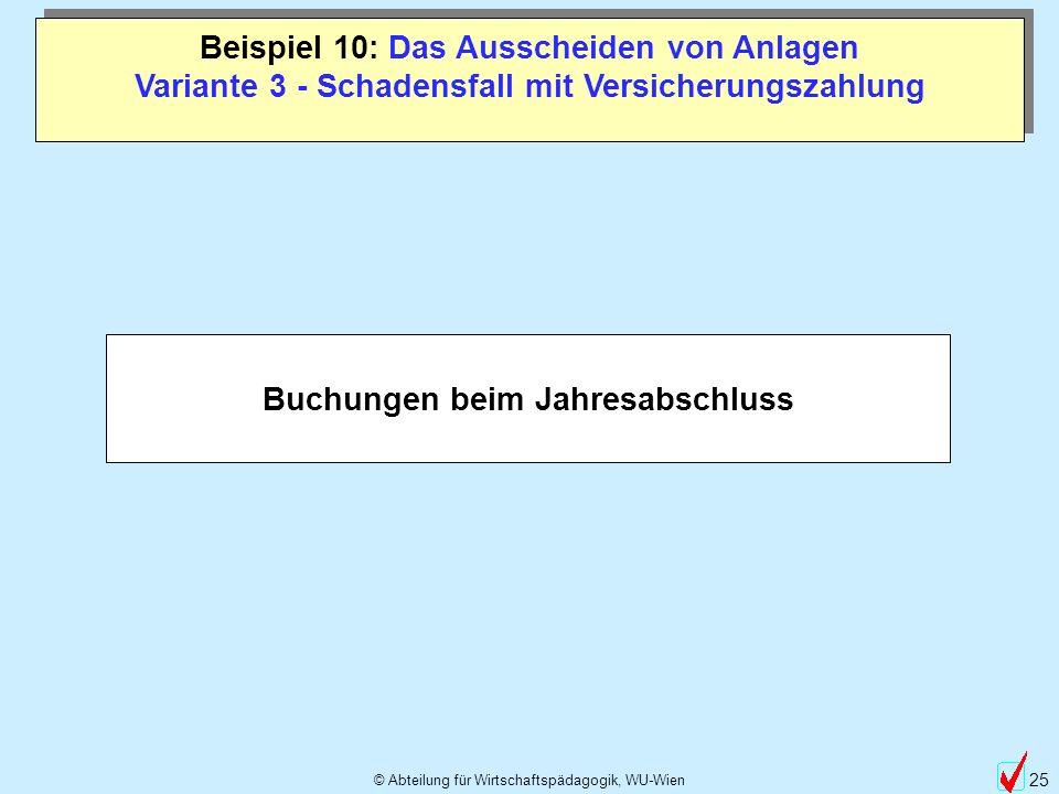 © Abteilung für Wirtschaftspädagogik, WU-Wien 25 Beispiel 10: Das Ausscheiden von Anlagen Variante 3 - Schadensfall mit Versicherungszahlung Buchungen beim Jahresabschluss