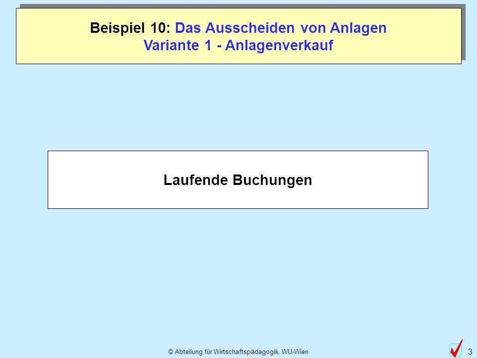 © Abteilung für Wirtschaftspädagogik, WU-Wien 3 Beispiel 10: Das Ausscheiden von Anlagen Variante 1 - Anlagenverkauf Laufende Buchungen