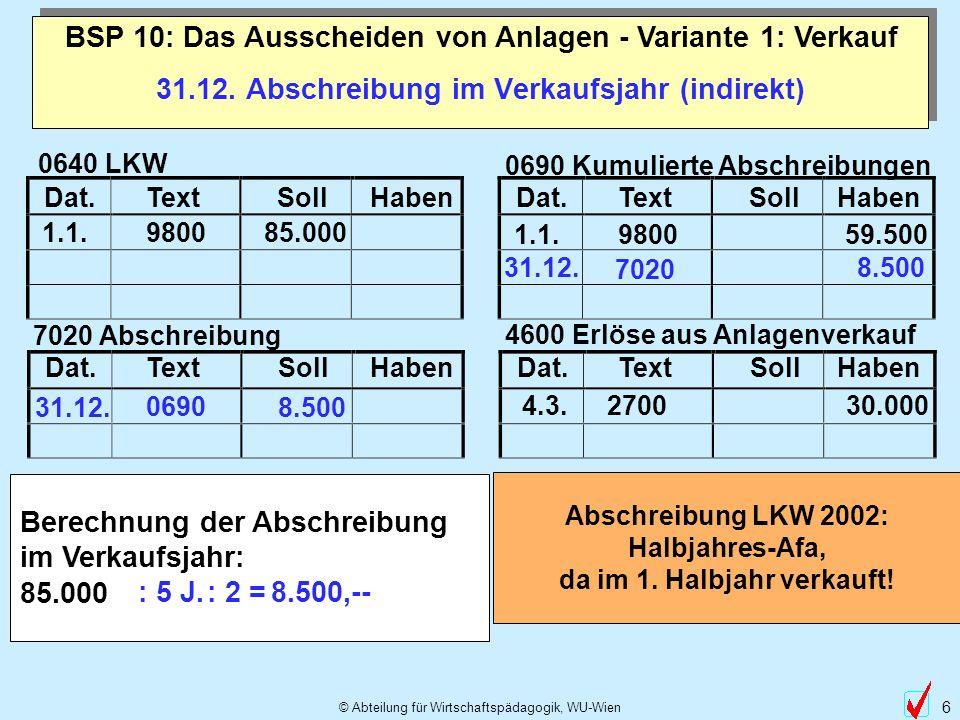 © Abteilung für Wirtschaftspädagogik, WU-Wien 6 31.12. Abschreibung im Verkaufsjahr (indirekt) BSP 10: Das Ausscheiden von Anlagen - Variante 1: Verka