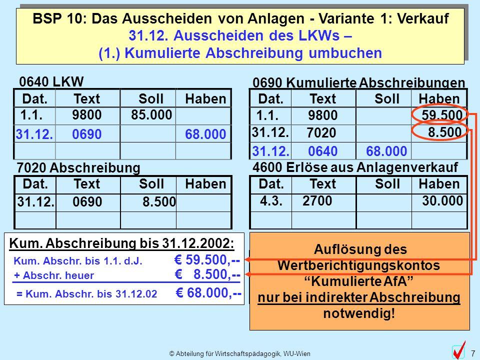 © Abteilung für Wirtschaftspädagogik, WU-Wien 7 31.12. Ausscheiden des LKWs – (1.) Kumulierte Abschreibung umbuchen BSP 10: Das Ausscheiden von Anlage