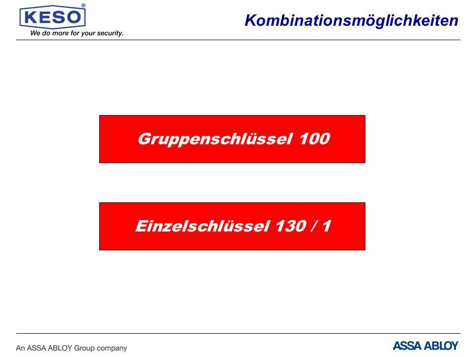 Kombinationsmöglichkeiten Gruppenschlüssel 100 Einzelschlüssel 130 / 1