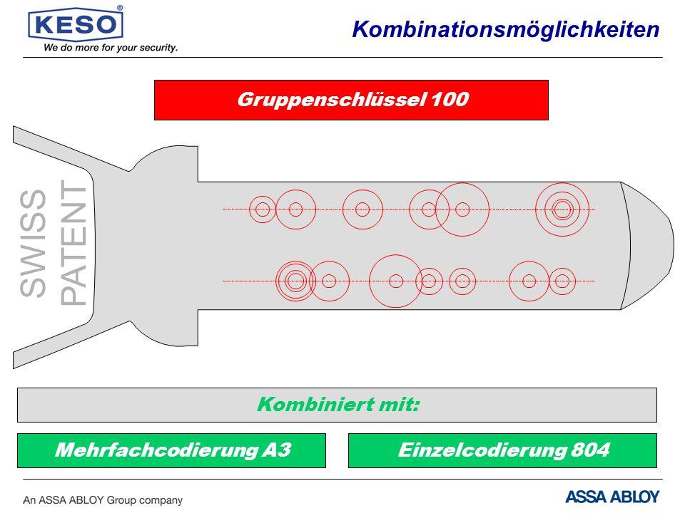 Gruppenschlüssel 100 Kombiniert mit: Mehrfachcodierung A3Einzelcodierung 804 SWISS PATENT Kombinationsmöglichkeiten