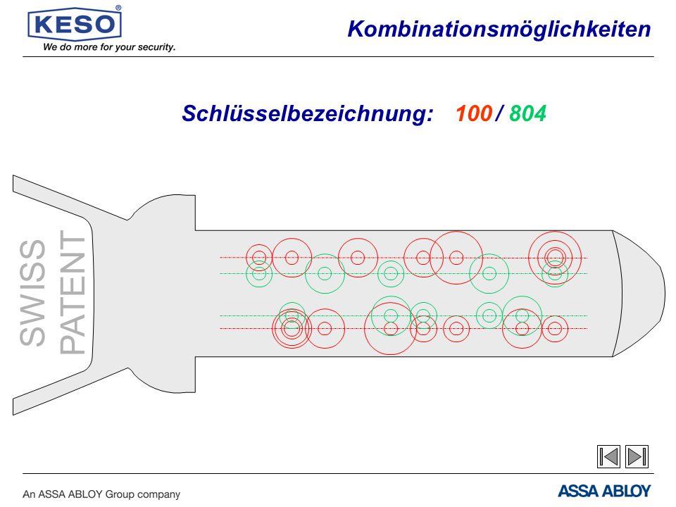 SWISS PATENT Schlüsselbezeichnung:100/ 804 Kombinationsmöglichkeiten