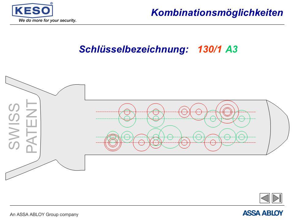SWISS PATENT Schlüsselbezeichnung:130/1A3 Kombinationsmöglichkeiten
