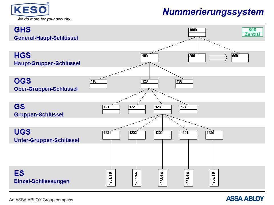 ES Einzel-Schliessungen GHS General-Haupt-Schlüssel HGS Haupt-Gruppen-Schlüssel OGS Ober-Gruppen-Schlüssel GS Gruppen-Schlüssel UGS Unter-Gruppen-Schlüssel 800 Zentral Nummerierungssystem
