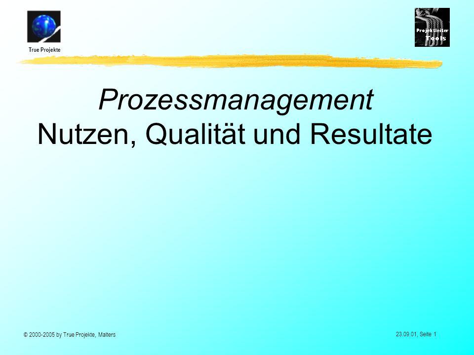 True Projekte © 2000-2005 by True Projekte, Malters 23.09.01, Seite 1 Prozessmanagement Nutzen, Qualität und Resultate