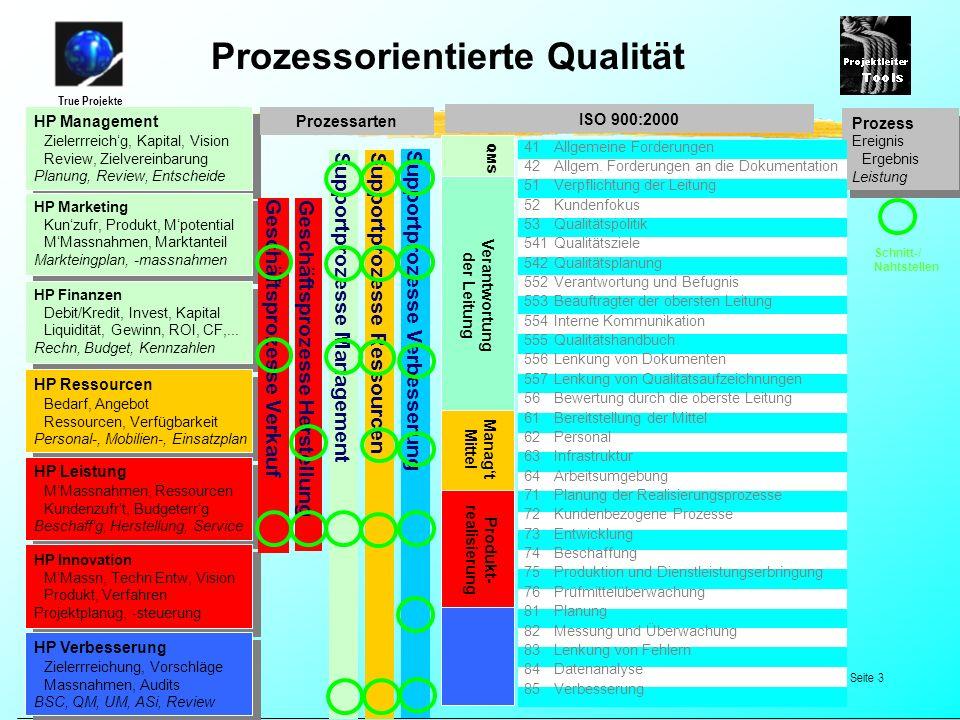 True Projekte © 2000-2005 by True Projekte, Malters 23.09.01, Seite 3 HP Management Zielerrreichg, Kapital, Vision Review, Zielvereinbarung Planung, R