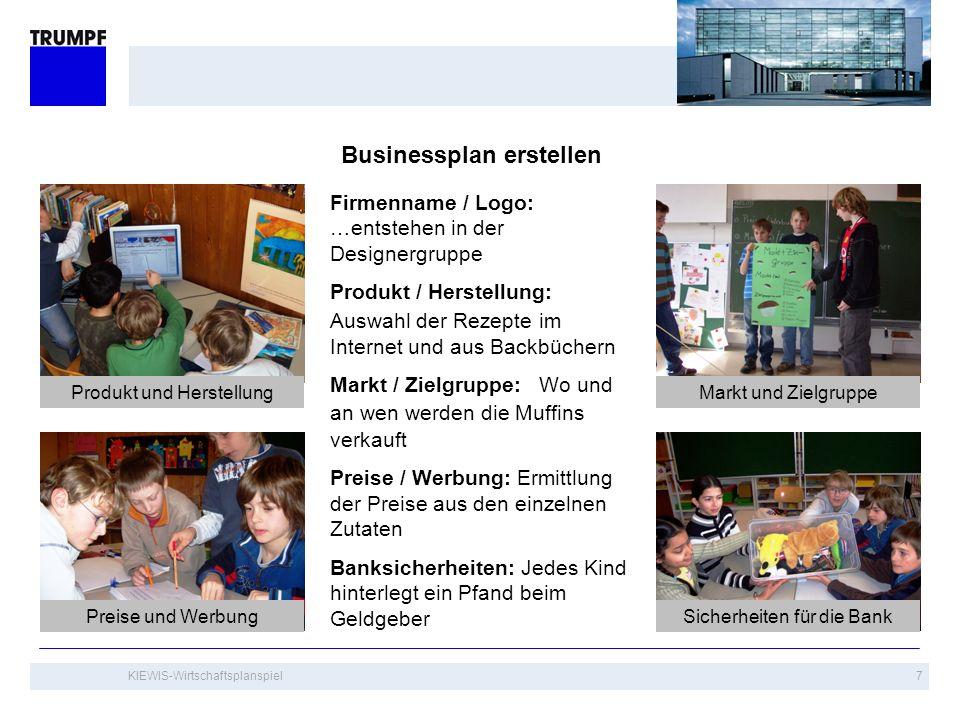 KIEWIS-Wirtschaftsplanspiel7 Businessplan erstellen Markt und ZielgruppeProdukt und Herstellung Sicherheiten für die BankPreise und Werbung Firmenname