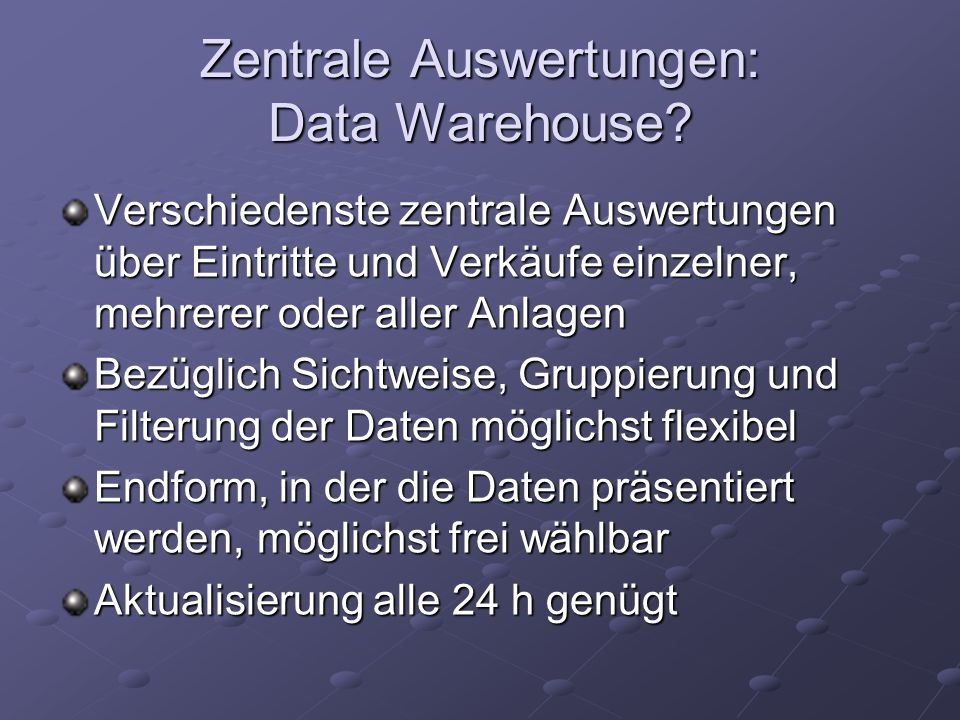 Grundlegendes zum Data Warehouse Charakteristika Cubes, Fact Tables, Measures und Dimensions Star- und Snowflake-Schema Star-, Snowflake-, Parent-Child, und Zeitdimensionen Teile des Data Warehouse: Staging Area und OLAP resp.