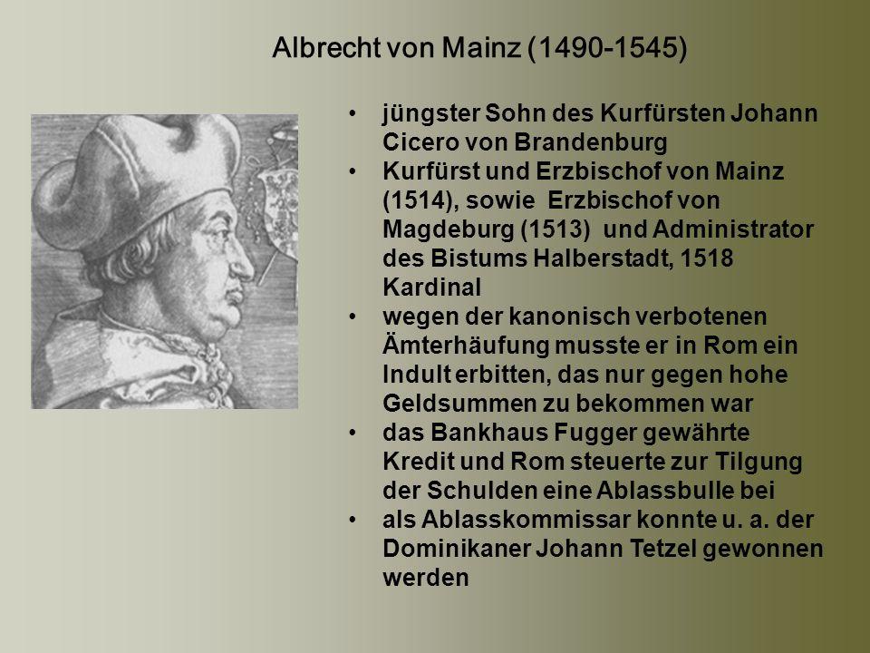 Johann Tetzel (1465 - 1519) trat 1489 in den Dominikanerorden ein profilierte sich bereits seit 1504 zu unterschiedlichen Anlässen und in verschiedenen Gebieten als Ablassprediger; Erzbischof Albrecht von Mainz ernannte ihn 1517 zum Subkommissar für den Ablasshandel in der Kirchen- Provinz Magdeburg Luthers Kritik an den erfolgsorientierten, skrupellosen Praktiken des Kommissars war dann der Schneeball, aus dem sich die Lawine der Reformation bildet