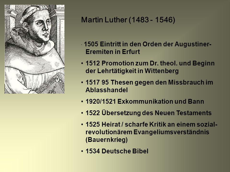 Martin Luther (1483 - 1546) 1505 Eintritt in den Orden der Augustiner- Eremiten in Erfurt 1512 Promotion zum Dr. theol. und Beginn der Lehrtätigkeit i