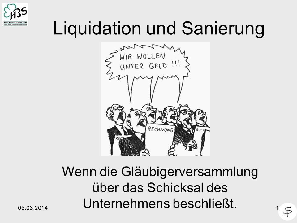 05.03.20141 Liquidation und Sanierung Wenn die Gläubigerversammlung über das Schicksal des Unternehmens beschließt.