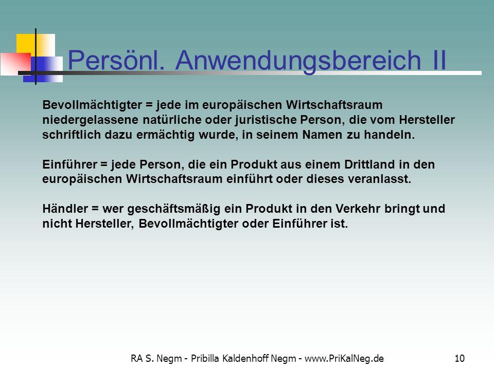 RA S. Negm - Pribilla Kaldenhoff Negm - www.PriKalNeg.de10 Persönl. Anwendungsbereich II Bevollmächtigter = jede im europäischen Wirtschaftsraum niede