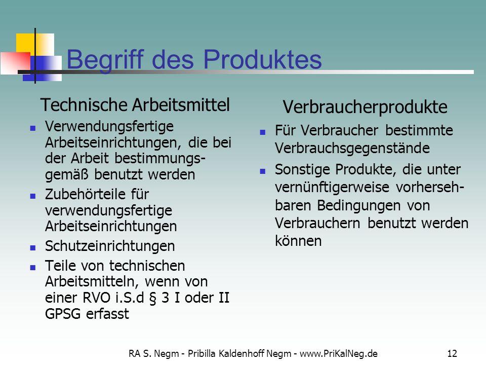RA S. Negm - Pribilla Kaldenhoff Negm - www.PriKalNeg.de12 Begriff des Produktes Technische Arbeitsmittel Verwendungsfertige Arbeitseinrichtungen, die