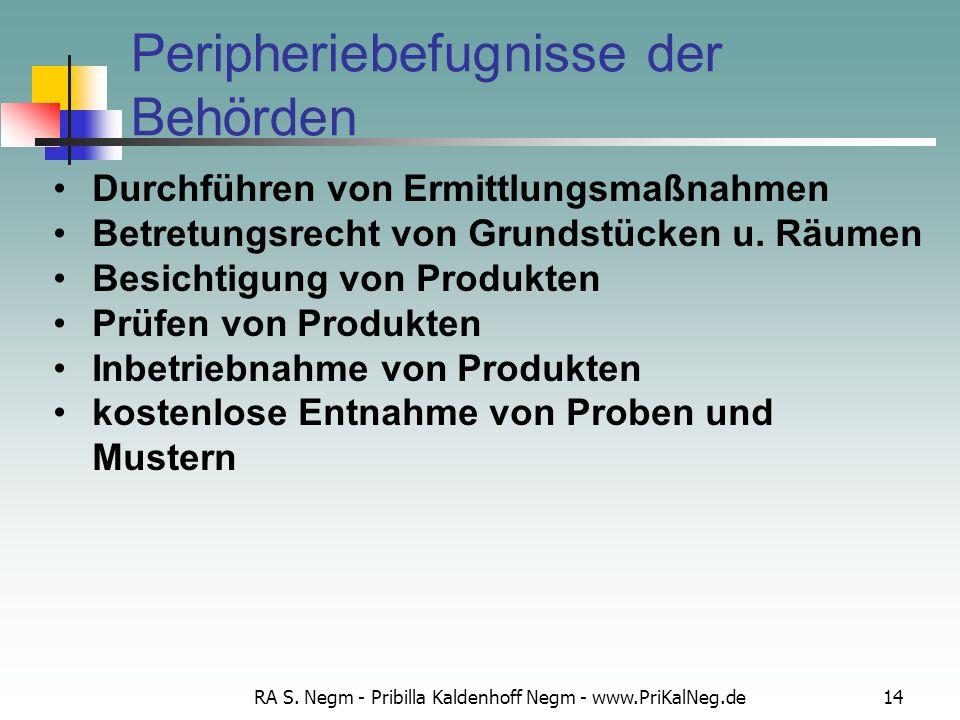 RA S. Negm - Pribilla Kaldenhoff Negm - www.PriKalNeg.de14 Peripheriebefugnisse der Behörden Durchführen von Ermittlungsmaßnahmen Betretungsrecht von