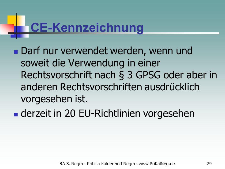 RA S. Negm - Pribilla Kaldenhoff Negm - www.PriKalNeg.de29 CE-Kennzeichnung Darf nur verwendet werden, wenn und soweit die Verwendung in einer Rechtsv