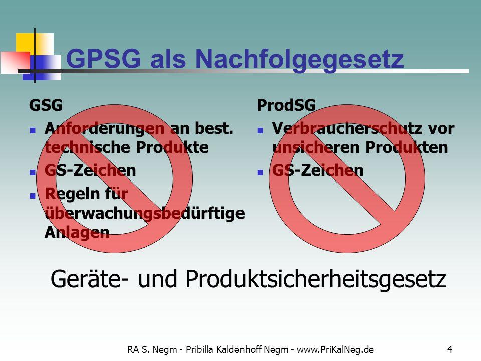 RA S. Negm - Pribilla Kaldenhoff Negm - www.PriKalNeg.de4 GPSG als Nachfolgegesetz GSG Anforderungen an best. technische Produkte GS-Zeichen Regeln fü