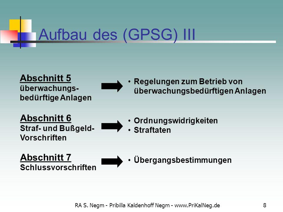 RA S. Negm - Pribilla Kaldenhoff Negm - www.PriKalNeg.de8 Aufbau des (GPSG) III Regelungen zum Betrieb von überwachungsbedürftigen Anlagen Abschnitt 5