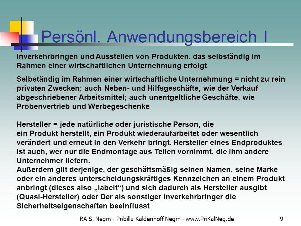 RA S. Negm - Pribilla Kaldenhoff Negm - www.PriKalNeg.de9 Persönl. Anwendungsbereich I Inverkehrbringen und Ausstellen von Produkten, das selbständig