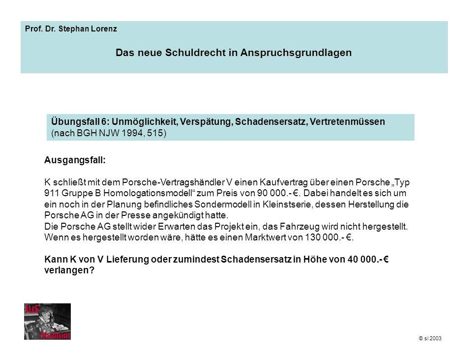Prof. Dr. Stephan Lorenz Das neue Schuldrecht in Anspruchsgrundlagen Ausgangsfall: K schließt mit dem Porsche-Vertragshändler V einen Kaufvertrag über