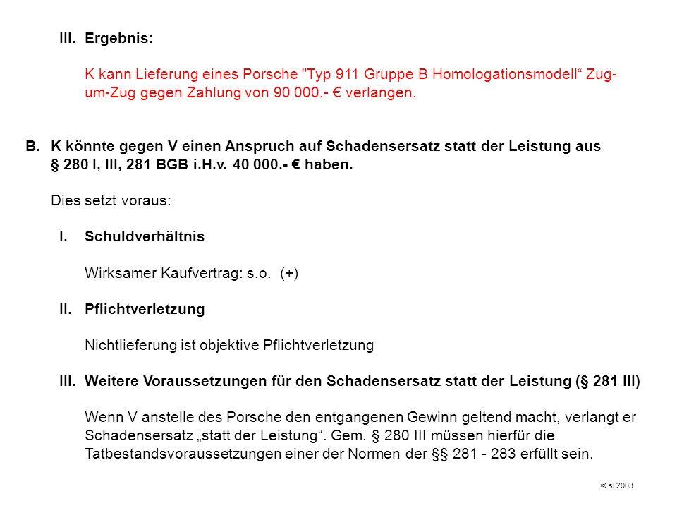 III.Ergebnis: K kann Lieferung eines Porsche Typ 911 Gruppe B Homologationsmodell Zug- um-Zug gegen Zahlung von 90 000.- verlangen.