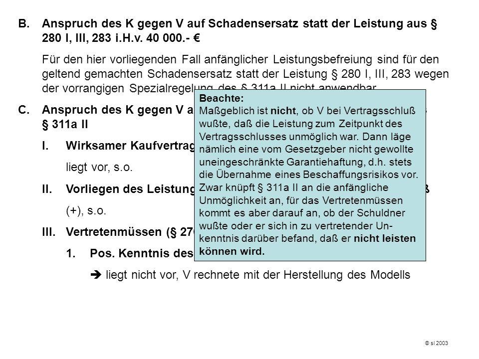 © sl 2003 2.Nach § 275 I (Primär-)Anspruch ist nach § 275 I erloschen (subj.