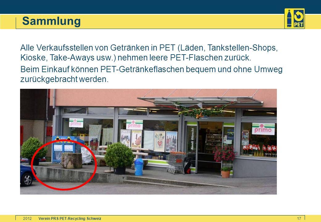 Verein PRS PET-Recycling Schweiz2012 17 Sammlung Alle Verkaufsstellen von Getränken in PET (Läden, Tankstellen-Shops, Kioske, Take-Aways usw.) nehmen
