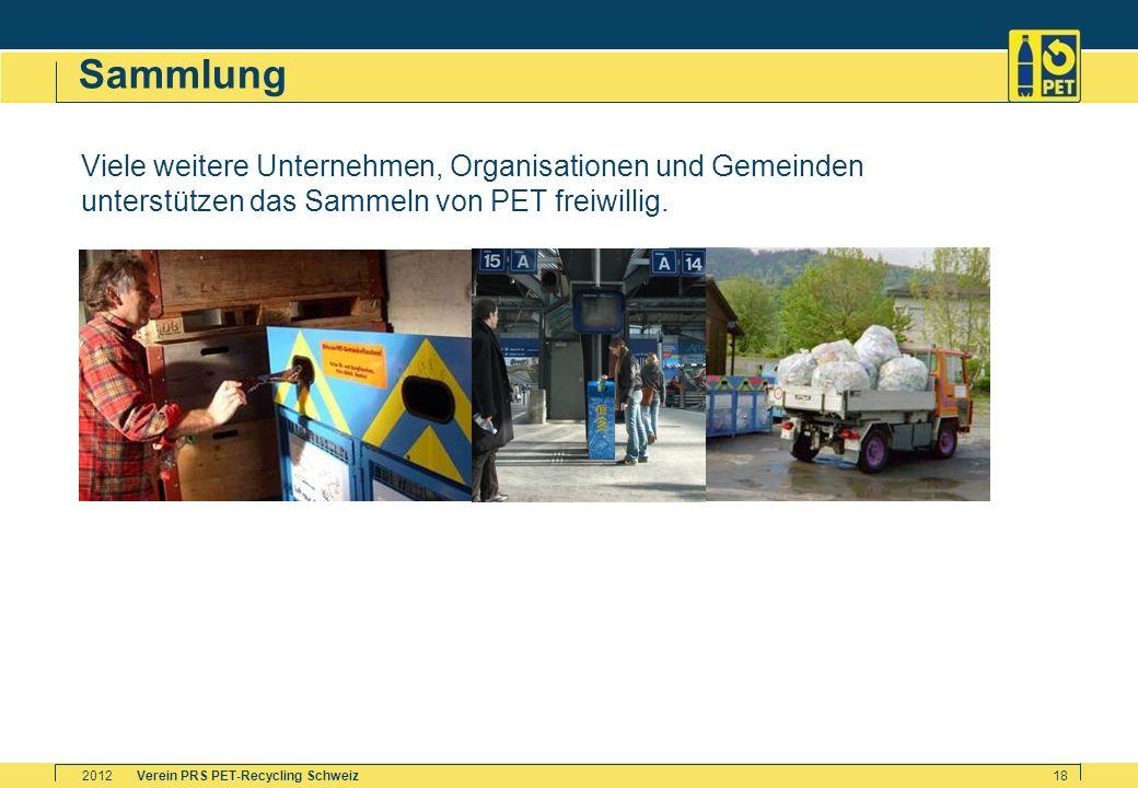 Verein PRS PET-Recycling Schweiz2012 18 Sammlung Viele weitere Unternehmen, Organisationen und Gemeinden unterstützen das Sammeln von PET freiwillig.