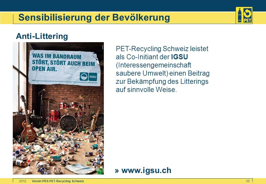 Verein PRS PET-Recycling Schweiz2012 30 Sensibilisierung der Bevölkerung Anti-Littering PET-Recycling Schweiz leistet als Co-Initiant der IGSU (Intere