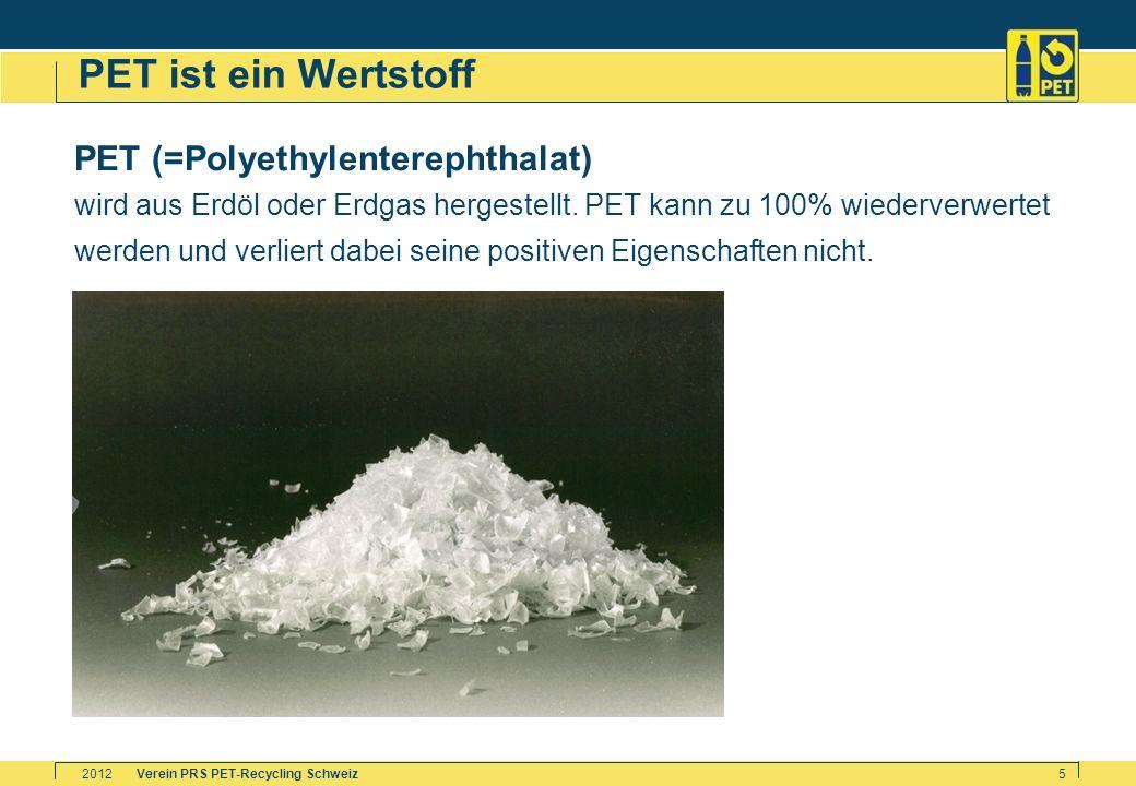 Verein PRS PET-Recycling Schweiz2012 5 PET ist ein Wertstoff PET (=Polyethylenterephthalat) wird aus Erdöl oder Erdgas hergestellt. PET kann zu 100% w