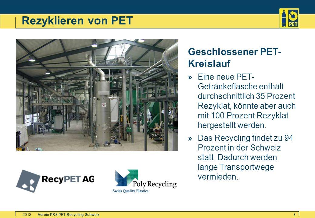 Verein PRS PET-Recycling Schweiz2012 8 Rezyklieren von PET Geschlossener PET- Kreislauf »Eine neue PET- Getränkeflasche enthält durchschnittlich 35 Pr