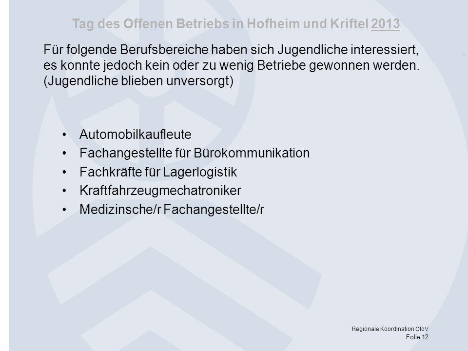 Tag des Offenen Betriebs in Hofheim und Kriftel 2013 Regionale Koordination OloV Folie 12 Für folgende Berufsbereiche haben sich Jugendliche interessi