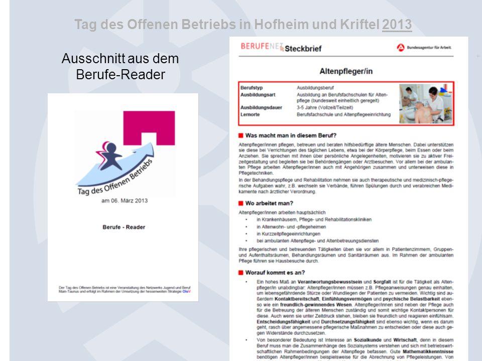 Tag des Offenen Betriebs in Hofheim und Kriftel 2013 Regionale Koordination OloV Folie 36 Welches Ergebnis hat sich im Einzelfall aus der Aktion ergeben ?
