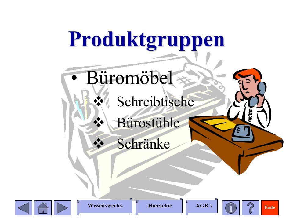 Ende WissenswertesAGB´sHierachie Produktgruppen Büromöbel Schreibtische Bürostühle Schränke