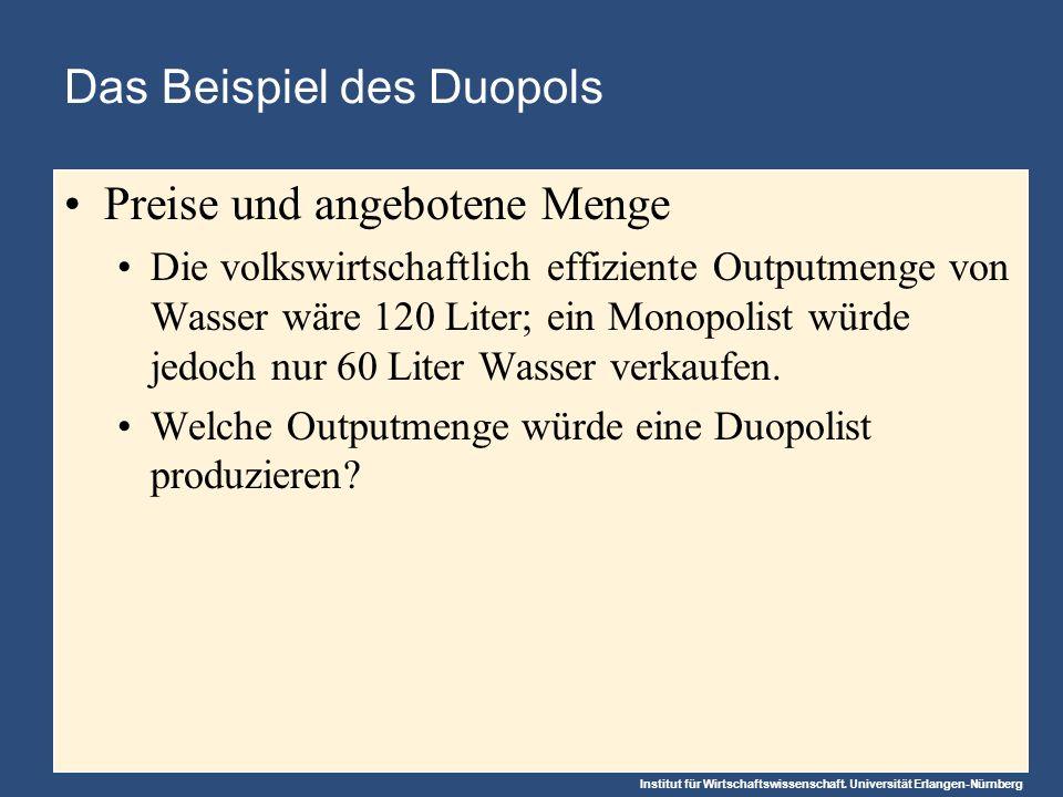 Institut für Wirtschaftswissenschaft. Universität Erlangen-Nürnberg Das Beispiel des Duopols Preise und angebotene Menge Die volkswirtschaftlich effiz