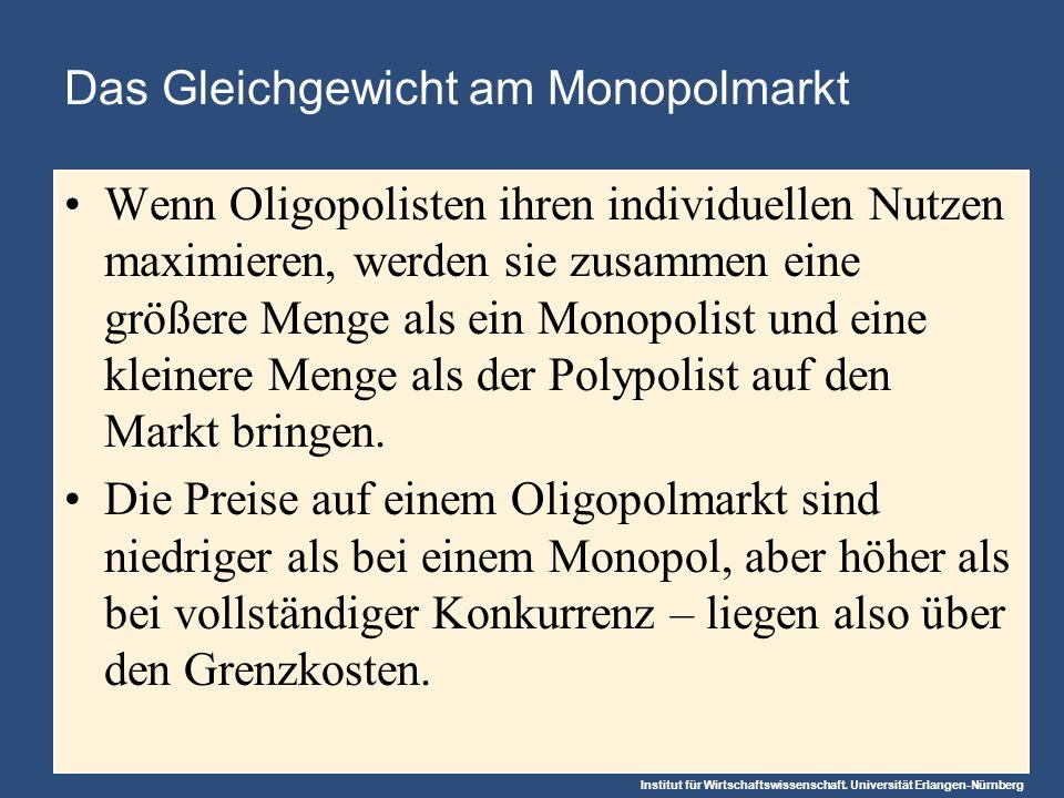 Institut für Wirtschaftswissenschaft. Universität Erlangen-Nürnberg Das Gleichgewicht am Monopolmarkt Wenn Oligopolisten ihren individuellen Nutzen ma